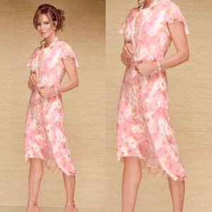 Vintage Jaclyn Smith Silk Floral Midi Dress Sz 14